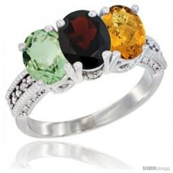 14K White Gold Natural Green Amethyst, Garnet & Whisky Quartz Ring 3-Stone 7x5 mm Oval Diamond Accent
