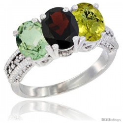 14K White Gold Natural Green Amethyst, Garnet & Lemon Quartz Ring 3-Stone 7x5 mm Oval Diamond Accent