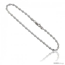 Sterling Silver Italian Puffed Anchor Chain Necklaces & Bracelets 2.4 mm Nickel Free