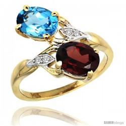 14k Gold ( 8x6 mm ) Double Stone Engagement Swiss Blue Topaz & Garnet Ring w/ 0.04 Carat Brilliant Cut Diamonds & 2.34 Carats