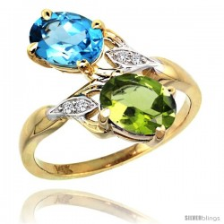 14k Gold ( 8x6 mm ) Double Stone Engagement Swiss Blue Topaz & Peridot Ring w/ 0.04 Carat Brilliant Cut Diamonds & 2.34 Carats