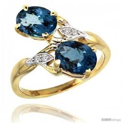 14k Gold ( 8x6 mm ) Double Stone Engagement London Blue Topaz Ring w/ 0.04 Carat Brilliant Cut Diamonds & 2.34 Carats Oval Cut