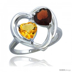14k White Gold 2-Stone Heart Ring 6mm Natural Citrine & Garnet Diamond Accent