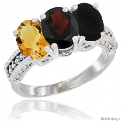 14K White Gold Natural Citrine, Garnet & Black Onyx Ring 3-Stone 7x5 mm Oval Diamond Accent
