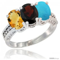 14K White Gold Natural Citrine, Garnet & Turquoise Ring 3-Stone 7x5 mm Oval Diamond Accent