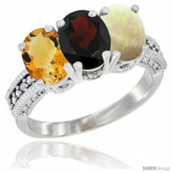 14K White Gold Natural Citrine, Garnet & Opal Ring 3-Stone 7x5 mm Oval Diamond Accent