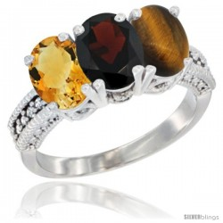 14K White Gold Natural Citrine, Garnet & Tiger Eye Ring 3-Stone 7x5 mm Oval Diamond Accent