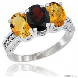 14K White Gold Natural Citrine, Garnet & Whisky Quartz Ring 3-Stone 7x5 mm Oval Diamond Accent