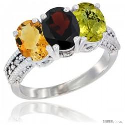 14K White Gold Natural Citrine, Garnet & Lemon Quartz Ring 3-Stone 7x5 mm Oval Diamond Accent