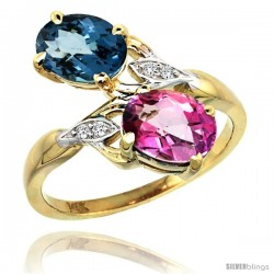 14k Gold ( 8x6 mm ) Double Stone Engagement London Blue & Pink Topaz Ring w/ 0.04 Carat Brilliant Cut Diamonds & 2.34 Carats