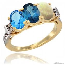 10K Yellow Gold Natural Swiss Blue Topaz, London Blue Topaz & Opal Ring 3-Stone Oval 7x5 mm Diamond Accent