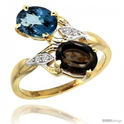 14k Gold ( 8x6 mm ) Double Stone Engagement London Blue & Smoky Topaz Ring w/ 0.04 Carat Brilliant Cut Diamonds & 2.34 Carats