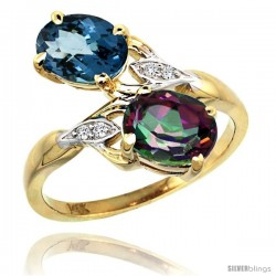 14k Gold ( 8x6 mm ) Double Stone Engagement London Blue & Mystic Topaz Ring w/ 0.04 Carat Brilliant Cut Diamonds & 2.34 Carats