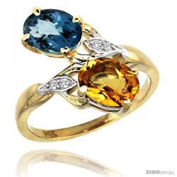 14k Gold ( 8x6 mm ) Double Stone Engagement London Blue Topaz & Citrine Ring w/ 0.04 Carat Brilliant Cut Diamonds & 2.34 Carats