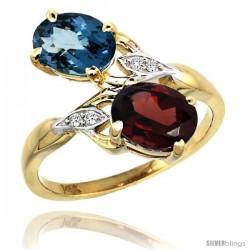 14k Gold ( 8x6 mm ) Double Stone Engagement London Blue Topaz & Garnet Ring w/ 0.04 Carat Brilliant Cut Diamonds & 2.34 Carats