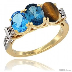 10K Yellow Gold Natural Swiss Blue Topaz, London Blue Topaz & Tiger Eye Ring 3-Stone Oval 7x5 mm Diamond Accent