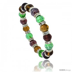 7 in Multi Color Faceted Glass Crystal Bracelet on Elastic Nylon Strand ( Garnet, Amber, Peridot & Citrine Color ), 3/8 in