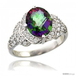 14k White Gold Natural Mystic Topaz Ring 10x8 mm Oval Shape Diamond Halo, 1/2 in wide