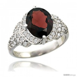 14k White Gold Natural Garnet Ring 10x8 mm Oval Shape Diamond Halo, 1/2 in wide