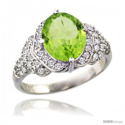 14k White Gold Natural Peridot Ring 10x8 mm Oval Shape Diamond Halo, 1/2 in wide