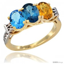 10K Yellow Gold Natural Swiss Blue Topaz, London Blue Topaz & Whisky Quartz Ring 3-Stone Oval 7x5 mm Diamond Accent