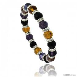 7 in Multi Color Faceted Glass Crystal Bracelet on Elastic Nylon Strand ( Amber, Citrine, Amethyst & Black Color ), 3/8 in