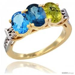 10K Yellow Gold Natural Swiss Blue Topaz, London Blue Topaz & Lemon Quartz Ring 3-Stone Oval 7x5 mm Diamond Accent