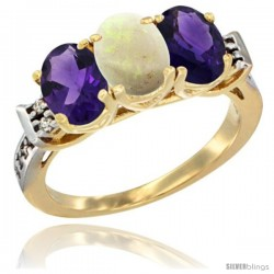 10K Yellow Gold Natural Opal & Amethyst Sides Ring 3-Stone Oval 7x5 mm Diamond Accent