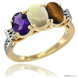 10K Yellow Gold Natural Amethyst, Opal & Tiger Eye Ring 3-Stone Oval 7x5 mm Diamond Accent