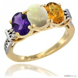10K Yellow Gold Natural Amethyst, Opal & Whisky Quartz Ring 3-Stone Oval 7x5 mm Diamond Accent
