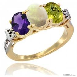 10K Yellow Gold Natural Amethyst, Opal & Lemon Quartz Ring 3-Stone Oval 7x5 mm Diamond Accent