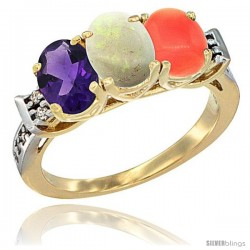 10K Yellow Gold Natural Amethyst, Opal & Coral Ring 3-Stone Oval 7x5 mm Diamond Accent