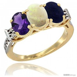 10K Yellow Gold Natural Amethyst, Opal & Lapis Ring 3-Stone Oval 7x5 mm Diamond Accent