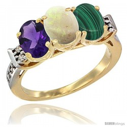 10K Yellow Gold Natural Amethyst, Opal & Malachite Ring 3-Stone Oval 7x5 mm Diamond Accent