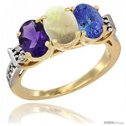 10K Yellow Gold Natural Amethyst, Opal & Tanzanite Ring 3-Stone Oval 7x5 mm Diamond Accent