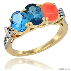 10K Yellow Gold Natural Swiss Blue Topaz, London Blue Topaz & Coral Ring 3-Stone Oval 7x5 mm Diamond Accent