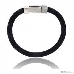 Stainless Steel 7 mm Leather Braid Bracelet Color Black 8 1/2 in long