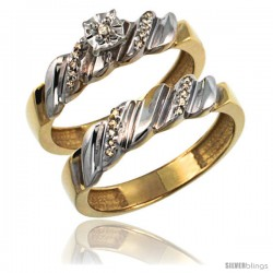 Gold Plated Sterling Silver Ladies 2-Piece Diamond Engagement Wedding Ring Set 3/8 in wide -Style Agy155e2