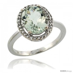 14k White Gold Diamond Halo Green Amethyst Ring 2.4 carat Oval shape 10X8 mm, 1/2 in (12.5mm) wide