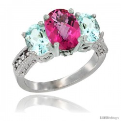 10K White Gold Ladies Natural Pink Topaz Oval 3 Stone Ring with Aquamarine Sides Diamond Accent