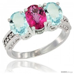 10K White Gold Natural Pink Topaz & Aquamarine Sides Ring 3-Stone Oval 7x5 mm Diamond Accent