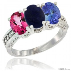 10K White Gold Natural Pink Topaz, Lapis & Tanzanite Ring 3-Stone Oval 7x5 mm Diamond Accent