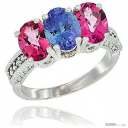 10K White Gold Natural Tanzanite & Pink Topaz Sides Ring 3-Stone Oval 7x5 mm Diamond Accent