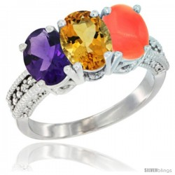 14K White Gold Natural Amethyst, Citrine & Coral Ring 3-Stone 7x5 mm Oval Diamond Accent