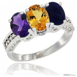 14K White Gold Natural Amethyst, Citrine & Lapis Ring 3-Stone 7x5 mm Oval Diamond Accent