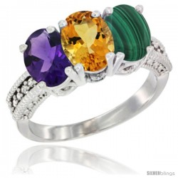 14K White Gold Natural Amethyst, Citrine & Malachite Ring 3-Stone 7x5 mm Oval Diamond Accent
