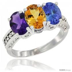 14K White Gold Natural Amethyst, Citrine & Tanzanite Ring 3-Stone 7x5 mm Oval Diamond Accent