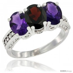 14K White Gold Natural Garnet & Amethyst Ring 3-Stone 7x5 mm Oval Diamond Accent