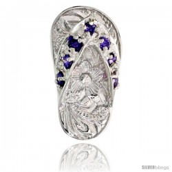 "Sterling Silver Hawaiian Flip Flop Slippers Pendant, w/ Brilliant Cut Amethyst-colored CZ Stones, 3/4"" (19 mm) tall"