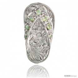 "Sterling Silver Hawaiian Flip Flop Slippers Pendant, w/ Brilliant Cut Peridot-colored CZ Stones, 3/4"" (19 mm) tall"